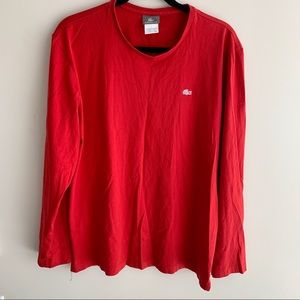 Lacoste red crew neck long sleeve tee